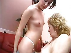 Oldnanny two lesbians girl is enjoying with toy 9